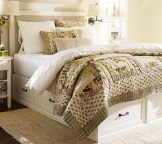 "Stratton Bed with Drawers | Pottery Barn Compact profile and generous storage options Full/Queen Bed: 60"" wide x 80"" deep x 16"" high $1,699.00 in Antique White or Mahogany"
