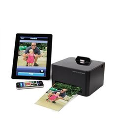 Wireless Smartphone Photo Printer  Capture and share photos in less than a minute. After downloading a free app, you can connect your smartphone, iPad and iPod Touch (running on iOS3), and Android to this wireless printer, which produces clear, high resolution, frame-worthy shots.    To buy: $220, hammacher.com.