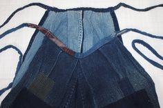 Meiji Indigo Cotton Tattuke-Noragi pants Sashiko. Boro Hand-spun Thick