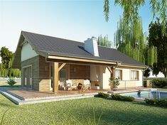 projekt AJR 03 wersja z garażem Cottage Design, House Design, Resort Style, Design Case, House In The Woods, Bungalow, House Plans, New Homes, Floor Plans