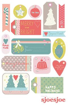 FREE printable Christmas gift tags/labels by studiosjoesjoe.com Print on www.worldlabel.com adhesive paper and cut out designs. Enjoy :)