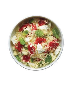 "Couscous With Roasted Red Peppers, Feta, and Mint | These surprising, well-rounded sides will be on the table faster than you can say ""dinnertime."""