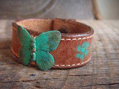 Vintage Brass Butterflyfly on Leather Cuff Bracelet