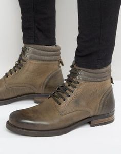 ASOS Lace Up Boots In Gray Leather Size 11
