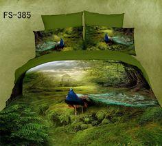 3D Oil painting 4pc Bedding set Bedclothes Cotton Bedsheets Peacock  Bedlinen Queen  size Duvet/Quilt cover coverlet sets Blue