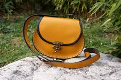 Mustard tan Oval leather messenger bag small by GalenLeather, $39.00