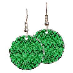 Round Earrings Green black wavy lines pattern #cafepress #jewelry #fashion #style