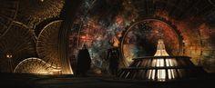 Thor (Chris Hemsworth) and Heimdall (Idris Elba) look out from the Observatory in Marvel's Thor: The Dark World Chris Hemsworth, Tom Hiddleston, Dark Kingdom, Clocks Go Back, Soul Stone, Mind Stone, Asgard, World Clock, Loki Thor