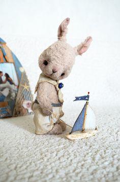 Teddy Bear stile Artist viscose OOAK Rabbit Emil by SanaTeddyBears