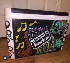 COOLERSbyU Painted Cooler Examples | Burbon Street Nola 2020 | Tags: nola, formal, 2020, new orleans, bourbon street, cooler Painted Fraternity Coolers, Painted Coolers, Frat Coolers, Nola Cooler, Formal Cooler Ideas, Cooler Painting, Bourbon Street, Party Cups, Painting Inspiration