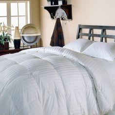 Supreme 350 Damask Stripe White Down Comforter - 12701