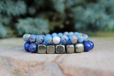 Natural Lapis Lazuli & Pyrite Cube Bracelet / by BeauBishop