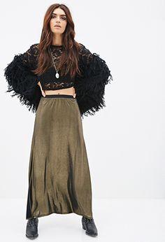Metallic M-Slit Maxi Skirt | FOREVER21 - 2000099315 $19.90