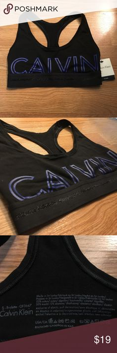 CK Black Racerback Bralette Brand new! Modern CK style with large logo on front and back. The band has a stripe of shimmery threading. Let me know if you have any questions! :) Calvin Klein Intimates & Sleepwear Bras