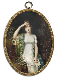 ETIENNE CHARLES LE GUAY (FRENCH, 1762-1846) AN IMPORTANT MINIATURE OF A YOUNG LADY FORMERLY CALLED PAULINE BONAPARTE, PRINCESS BORGHESE, THREE-QUARTER LENGTH SEATED ON A GRASSY BANK HOLDING AN OPEN BOOK IN HER LEFT HAND, IN WHITE DRESS, MULTI-COLOURED EMBROIDERED CASHMERE STOLE DRAPED OVER HER RIGHT SHOULDER, HER RIGHT ARM RAISED TO HER FOREHEAD, TORTOISESHELL COMB IN HER UPSWEPT AND CURLED DARK BROWN HAIR; FLOWERS AND FOLIAGE BACKGROUND (ARTIST'S JOINS)