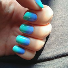 Ocean Gradient Nails ::  Take a makeup sponge and cut it to the size that would fit your nails and make minimal mess :: Then pick your polish colors and paint them in the desired color order on the sponge :: Then you press the sponge on the nail :: Repeat the sponge painting step for each nail :: Clean up around nail beds :: Let set and then seal with a top coat :: Voila!