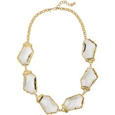 Kenneth Jay Lane Gold-plated crystal necklace (118.105 CLP) ❤ liked on Polyvore featuring jewelry, necklaces, metallic, metallic jewelry, gold plated necklace, crystal necklace, clear jewelry and clear necklace