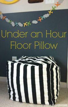 DIY One Hour Floor Pillow | 17 DIY Pouf Ideas, see more at http://diyready.com/17-diy-pouf-ideas