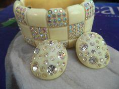 Vintage Weiss Bakelite Celluloid Rhinestone Clamper Cuff Bracelet & Earring Set