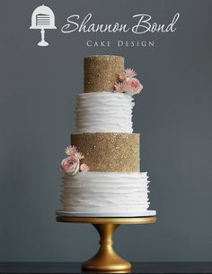 Gold Pearl and Ruffle Wedding Cake