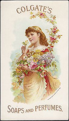 RARE-Antique-1889-Colgate-Soap-Perfume-Roses-Victorian-Advertising-Trade-Card