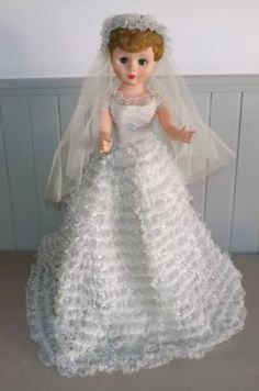 "Vintage 1950's Bride Doll 24"" in Silver & White Wedding Gown & Veil"