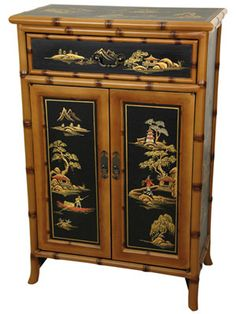 A bamboo-inspired cabinet doubles as storage for towels. Ching shoe cabinet, $595; orientalfurniture.com.