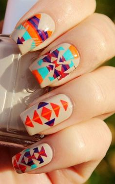 Image viaCool Tribal Nail Art Ideas and DesignsImage viaCustomized Aztec Press On Nails Fake nailsImage viaCool Tribal Nail Art Ideas and Designs. Fancy Nails, Love Nails, How To Do Nails, My Nails, Jamberry Nails, Fabulous Nails, Gorgeous Nails, Pretty Nails, Nail Art Designs