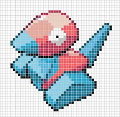 #137 Porygon Cross Stitch House, Beaded Cross Stitch, Cross Stitch Charts, Cross Stitch Embroidery, Cross Stitch Patterns, Hama Beads Pokemon, Stitch Games, Pokemon Sprites, Toddler Girls