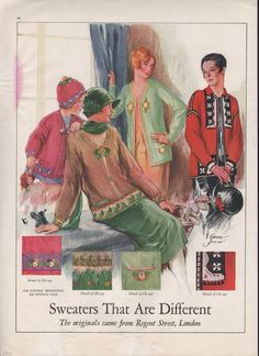 eBay---DATE OF ** ORIGINAL **  ADVERTISEMENT: 1926   COMPANY NAME: REGENT STREE   PRODUCT(S): SWEATER, CK 294, CK 295, CK 296, CK 297  CITY / TOWN-STATE: LONDON  OWNER: -  ENDORSER: -  ARTIST: SORINHE DILLON   THEME: HISTORICAL FASHION