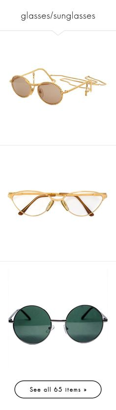 """glasses/sunglasses"" by cliffordcoffee ❤ liked on Polyvore featuring accessories, eyewear, sunglasses, glasses, headwear, vintage eyewear, vintage glasses, gold chain sunglasses, gold sunglasses and vintage sunglasses"
