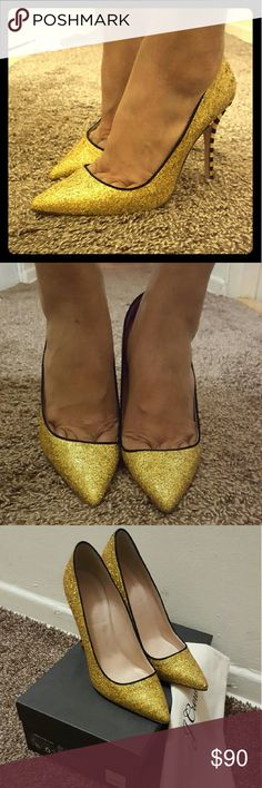 J Crew Roxie Glitter Pump 6.5 Be the belle of the ball in these sexy gold glitter pumps from J Crew. New in box, never worn. No longer available in stores and sold on eBay for $120, these are listed on my opening night party for only $99! No trades please. J. Crew Shoes Heels