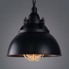 Age Wrought Iron Black Industrial Barn Cage Pendant Light in Retro Style