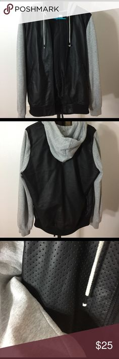H&M Men's S Hoodie Sweater Jacket Black Grey Worn twice. Men's size small. Outer shell is 100% viscose, sweater/hood parts are cotton polyester blend, inside lining is polyester. In excellent condition!! I ship from a smoke-free home. I do have a dog that I keep away from clothing, but please note if you have severe allergies. H&M Sweaters Zip Up