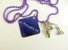 Girl's personalized purple necklace by jewelryandmorebykat on Etsy, $10.00