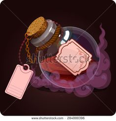 bottle with red water icon game magic. Game icon of magic elixir. Vector design for app user interface
