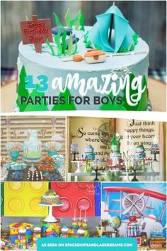 Summer is winding down and party time is revving up! Boys of all ages will love the birthday parties featured in this collection of themes. Discover creative ideas for back-to-school celebrations, a disco monkey theme Birthday Themes For Boys, Birthday Party Games, First Birthday Parties, Birthday Ideas, Kid Parties, Twin Birthday, Birthday Stuff, Summer Parties, Happy Birthday