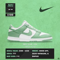 "Gefällt 27.8 Tsd. Mal, 189 Kommentare - Hype | Fashion | Culture 🥀 (@ageofculture) auf Instagram: ""The Nike Dunk Low ""Green Glow"" will release during 2021 in women sizing for a retail of $100. We…"" Shoe Releases, Dunk Low, Nike Dunks, Glow, Retail, Culture, Instagram, Sneakers, Green"