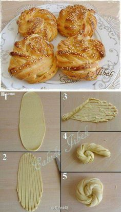 21 creative tricks with dough, with which baking is really fun .- 21 kreative Tricks mit Teig, mit denen Backen richtig Spaß macht 21 creative tricks with dough that make baking fun Bread Shaping, Bread Bun, Braided Bread, Bread Rolls, Bread Twists, Braided Buns, Bread And Pastries, Sweet Bread, Baking Recipes