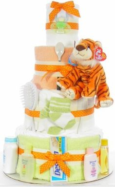 Tiger Diaper Cake Diaper Cupcakes, Basket Ideas, Shower Games, Gift Baskets, Shower Ideas, Baby Gifts, Baby Shower, Holidays, Halloween