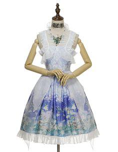 Fairy Lolita Floral Dress Midi Dress Cape Summer Dress Ball Dress Bustle Skirt Set