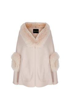 Fur Trim Wool Cashmere Cape Winter Blush (click to view larger image)