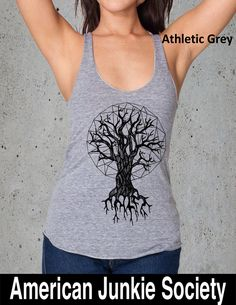 Womens Geometric Roots TREE Shirt)Girlfriend Gift-Yoga Tank Top- Shirt- American Apparel--Valentines Day Gifts by AmericanJunkieSoc on Etsy