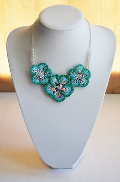 Beautiful  unusual handmade necklace recycled from plastic bags. Upcycled, blue, turquois... £33