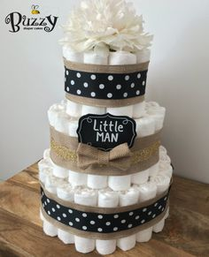 Burlap & Black Little Man Diaper Cake, Black Polka Dot, Burlap 3 Tier Diaper Cake, Boy Baby Shower, Shower Centerpiece, Boy Diaper Cakes