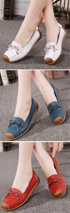 US$14.25 Soft Leather Butterfly Knot Metal Color Blocking Flat Loafers