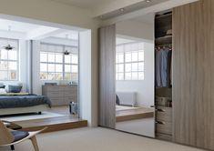 Bardolino Truffle Oak with full length mirror effect panel & internal two drawer unit
