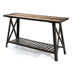 industrial console table | St. Remy Reclaimed Wood Modern Industrial Console Table