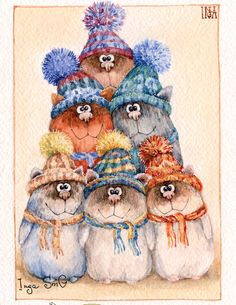 A group of hedgehogs all wrapped up warm for the winter. Art And Illustration, Blue Nose Friends, Christmas Cats, Heart Art, Christmas Pictures, I Love Cats, Vintage Postcards, Cute Cartoon, Folk Art