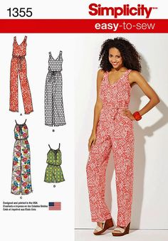Pull-on Jumpsuit Pattern, Pull-on Sunsuit Pattern, Pullover Maxi Dress Pattern, Sz 4 to 26, Simplicity 1355 sewing pattern